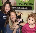 Marmoset on shoulder with kids