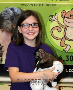 Girl with glasses holding a baby Capuchin